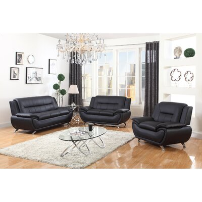 Chiasson 3 Piece Living Room Set Upholstery: Black