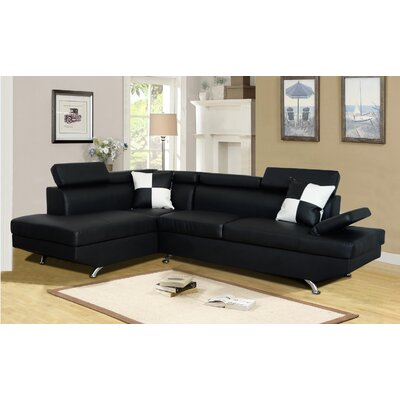 Chew Magna Corner Sectional Orientation: Left Hand Facing, Upholstery: Black