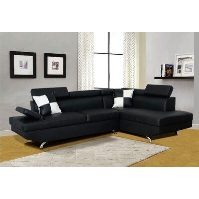 Chew Magna Corner Sectional Orientation: Right Hand Facing, Upholstery: Black