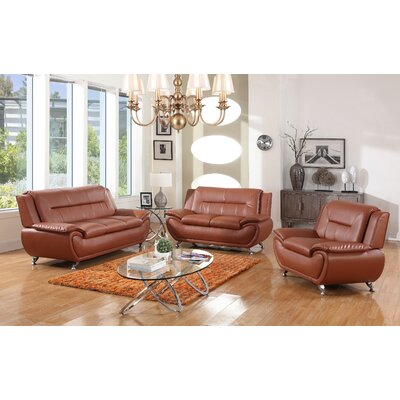 Chiasson 3 Piece Living Room Set Upholstery: Orange
