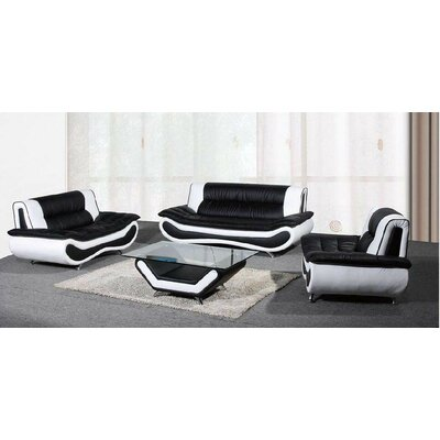 Chiang 2 Piece Living Room Set Upholstery: Black/White