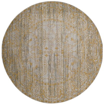 Menton Gray / Gold Area Rug Rug Size: Round 67