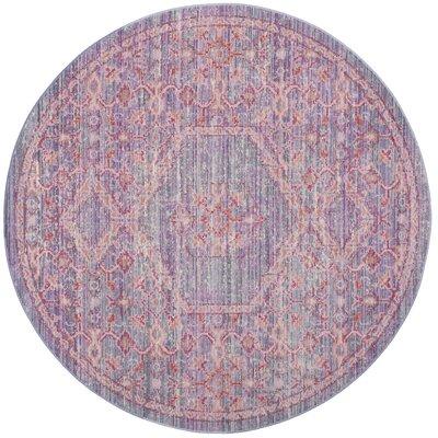 Bangou Lavender/Fuchsia Area Rug Rug Size: Round 6