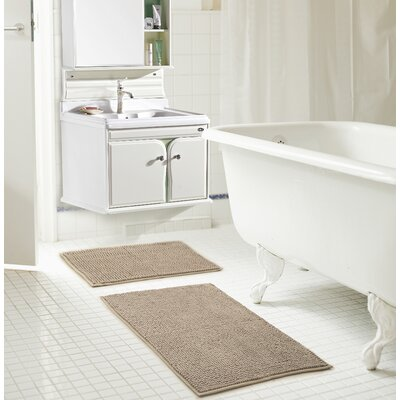 Bowden Short Pile Chenille 2 Piece Bath Rug Set Color: Taupe