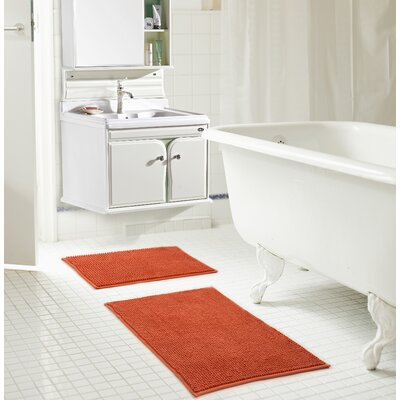 Bowden Short Pile Chenille 2 Piece Bath Rug Set Color: Terracotta