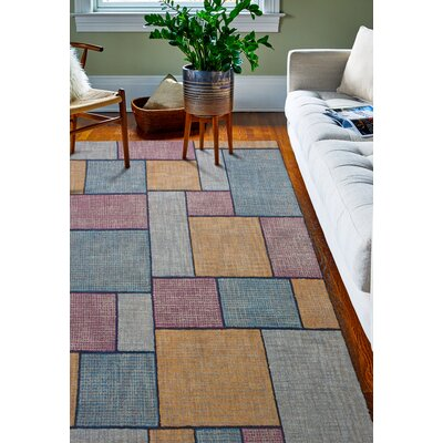Pearcy Hand-Woven Wool Blue/Yellow Area Rug Rug Size: Rectangle 5 x 76