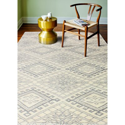 Caesar Hand-Woven Wool Ivory Area Rug Rug Size: Rectangle 36 x 56
