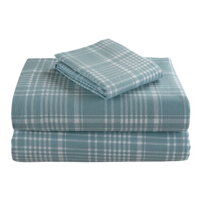 Geoffroy Flannel Plaid 4 Piece 100% Cotton Sheet Set Size: Queen