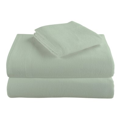 Geoffroy Flannel 4 Piece 100% Cotton Sheet Set Size: King, Color: Sage