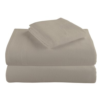 Geoffroy Flannel 4 Piece 100% Cotton Sheet Set Size: Full, Color: Taupe