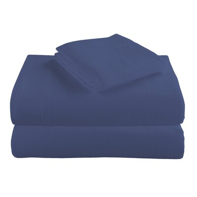 Geoffroy Flannel 4 Piece 100% Cotton Sheet Set Size: Full, Color: Blue