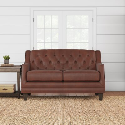 Kashvi Leather Loveseat Upholstery: Steamboat Chestnut