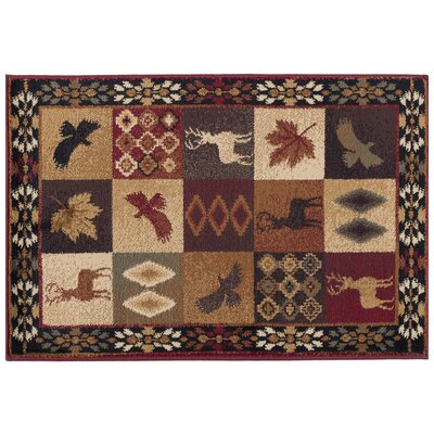 Allegro Diamond Deer Novelty Lodge Scatter Brown/Red Area Rug Rug Size: Rectangle 2 x 3