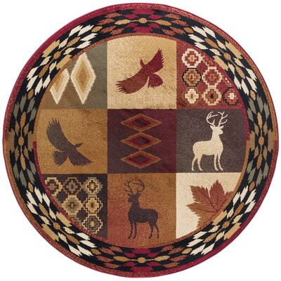 Allegro Diamond Deer Novelty Lodge Scatter Brown/Red Area Rug Rug Size: Round 6