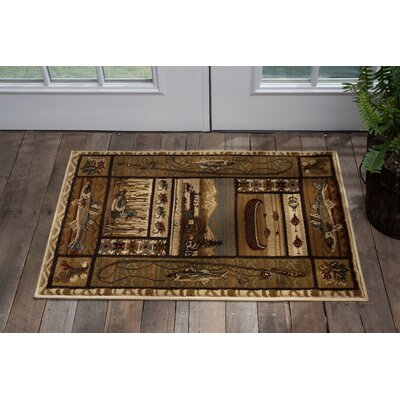 Justine Ivory/Brown Area Rug Rug Size: Rectangle 2 x 3