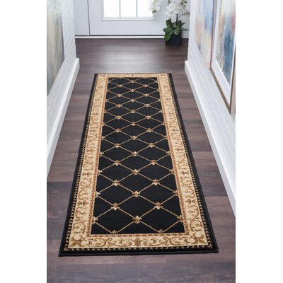 Clarence Black/Gold Area Rug Rug Size: Rectangle 2 x 10