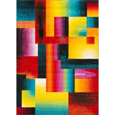 Weisman Red/Yellow Area Rug Rug Size: Rectangle 8 x 11