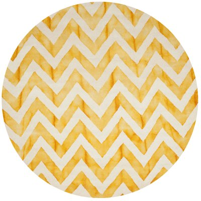 Crux Hand-Tufted Ivory / Gold Area Rug Rug Size: Round 7 x 7
