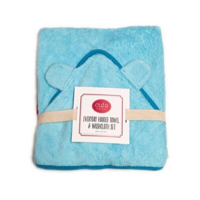 Hooded Towel and Washcloth Set Color: Blue Terry/Blue Trim