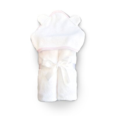 Hooded Towel and Washcloth Set Color: White Terry/Pink Trim