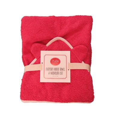Hooded Towel and Washcloth Set Color: Ceris Terry/Pink Trim