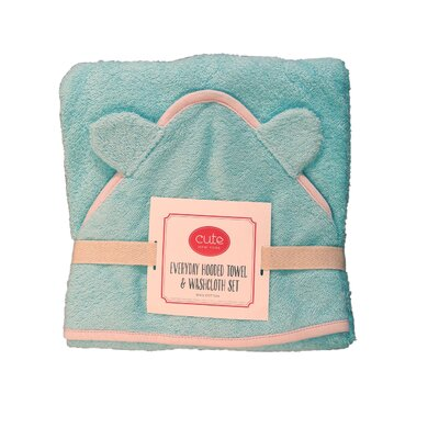 Hooded Towel and Washcloth Set Color: Blue Terry/Pink Trim