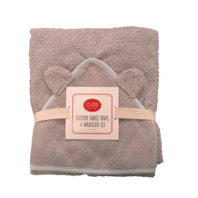 Hooded Towel and Washcloth Set Color: Gray Terry/Blue Trim
