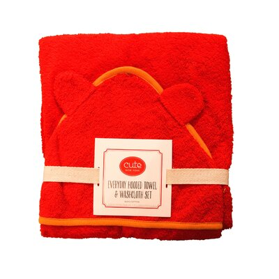 Hooded Towel and Washcloth Set Color: Red Terry/Orange Trim