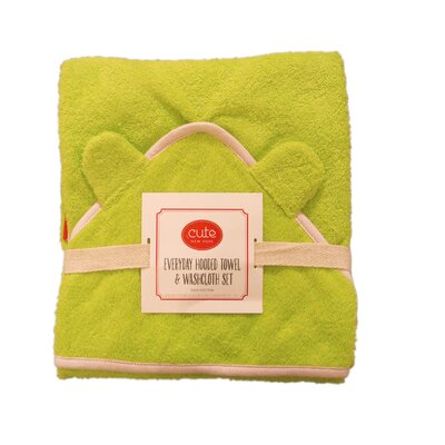 Hooded Towel and Washcloth Set Color: Green Terry/Pink Trim