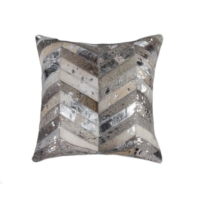 Oberry Leather Throw Pillow Color: Gray/Silver