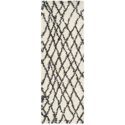 Malibu Ivory/Charcoal Area Rug Rug Size: Runner 23 x 7
