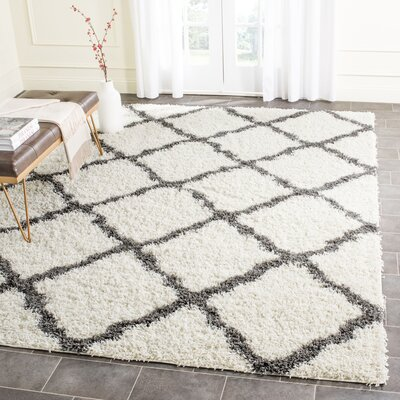 Charmain Ivory/Dark Gray Area Rug Rug Size: Rectangle 8 x 10