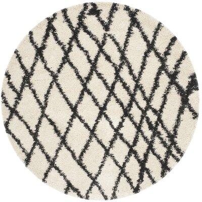 Malibu Ivory/Charcoal Area Rug Rug Size: Round 67