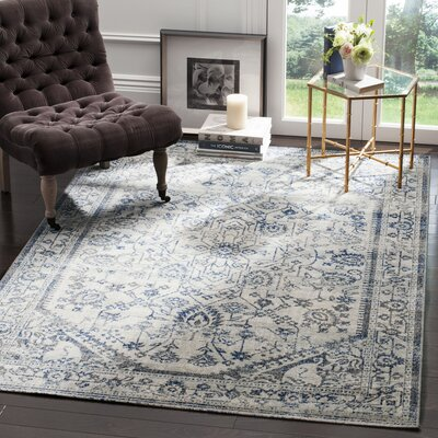 Harwood Cotton Silver/Blue Area Rug Rug Size: Rectangle 51 x 76