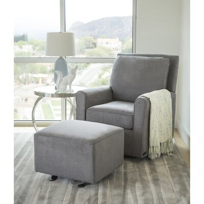 Barnwell Gliding Swivel Armchair and Ottoman Upholstery: Gray