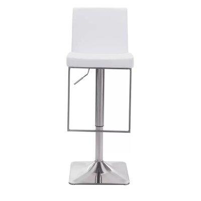 Kirtley Adjustable Swivel Bar Stool Color: White