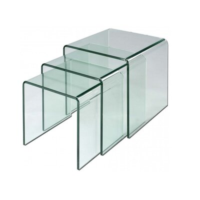 Brunner Glass 3 Piece Nesting Tables