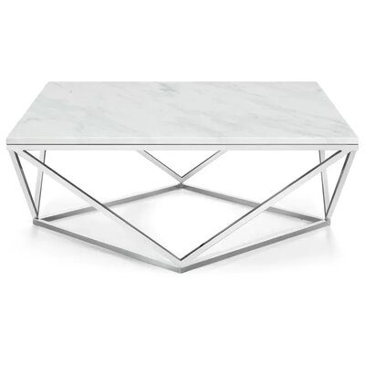 Plutarch Marble Coffee Table Finish: Chrome