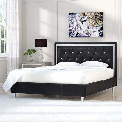 Elliana Upholstered Platform Bed Size: Queen, Color: Black