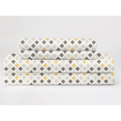 Wofford 4 Piece 350 Thread Count 100% Cotton Sheet Set Size: King, Color: Gray/White/Yellow