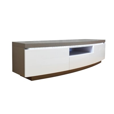 Demps 71 TV Stand with LED Light Color: White Lacquer/Light Gray