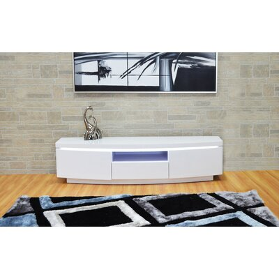 Demps 71 TV Stand with LED Light Color: White Lacquer