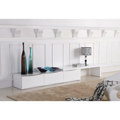 Deluna 71 TV Stand with Extendable Table Color: White