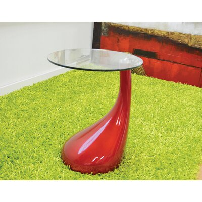Depaul Tear Drop End Table Table Base Color: Red