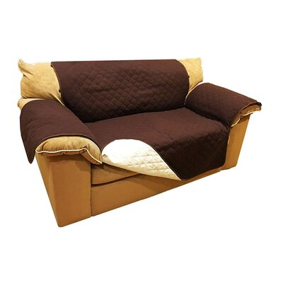 Pet Fur Protection Box Cushion Armchair Slipcover Size: 71 H x 110 W x 0.3 D, Upholstery: Brown