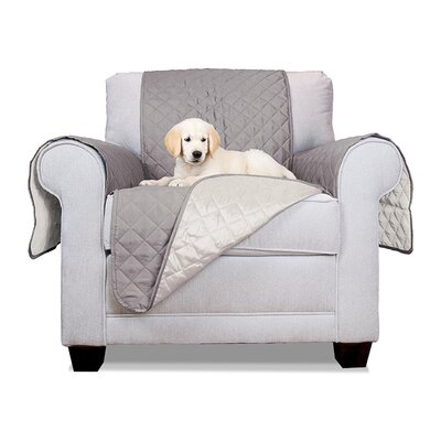 Pet Fur Protection Box Cushion Armchair Slipcover Size: 65 H x 70 W x 0.3 D, Upholstery: Gray