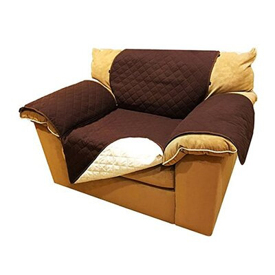 Pet Fur Protection Box Cushion Armchair Slipcover Size: 65 H x 70 W x 0.3 D, Upholstery: Brown