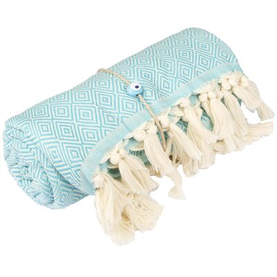 Longford Diamond 100% Cotton Beach Towel Color: Turquoise