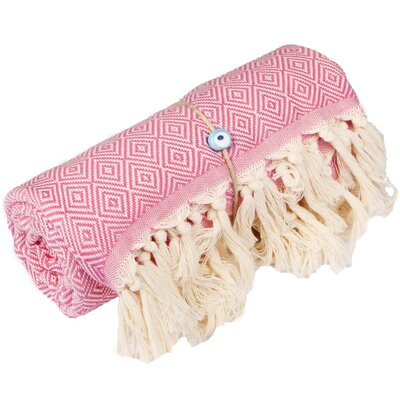 Longford Diamond 100% Cotton Beach Towel Color: Pink