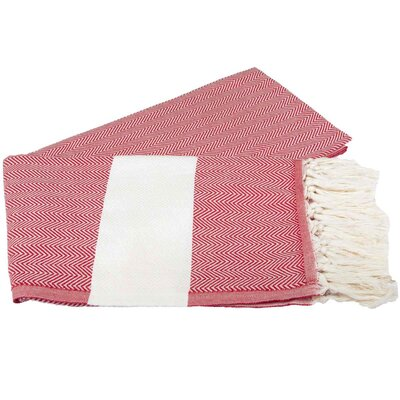 Zigzag Pattern Turkish 100% Cotton Beach Towel Color: Red